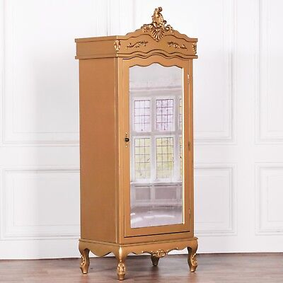 Stunning Shabby Chic French Style Gold Hardwood Single Mirror Door Armoire