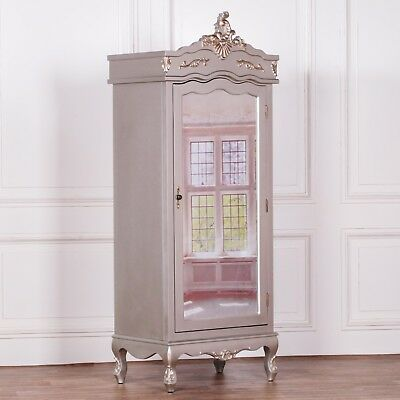 Stunning Shabby Chic French Style Silver Hardwood Single Mirror Door Armoire