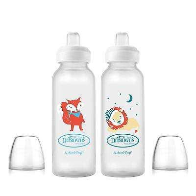 Dr. Brown's Sippy Spout Baby Bottles Fox & Lion 8 Ounce 2 Count