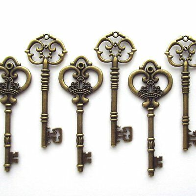 Makhry Mixed 20 Extra Large Antique Bronze Finish Skeleton Keys Rustic Key fo...