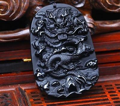 Carved jade Natural Necklace Dragon Obsidian Amulet New pendant statue