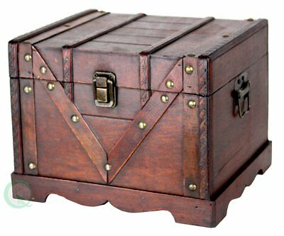 Vintiquewise QI003027.S Small Wooden Box Old Style Treasure Chest