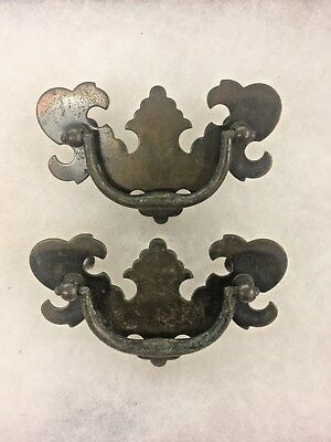 """2 Drawer Pulls & Screws 2-1/2"""" Center To Center Chippendale Batwing Style #34"""