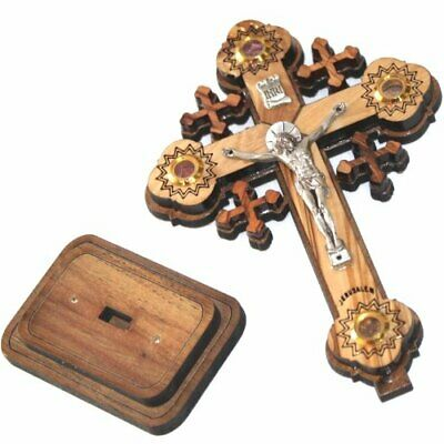 Layered olive wood Cross carved by Laser with Holy Land samples - standing or
