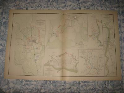 Antique 1891 Corinth Iuka Mississippi Wilmington North Carolina Civil War Map Nr