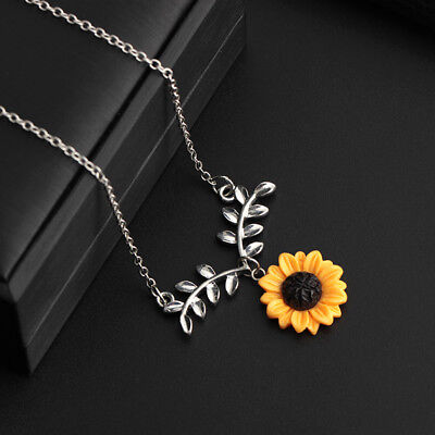 Cute Sunflower Leaf Branch Pendant Women Clavicle Necklace Jewelry Gift US STOCK
