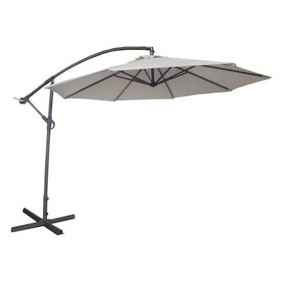 Abba Patio 10-ft. Easy Crank Offset Cantilever Hanging Patio Umbrella with Base
