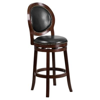 Flash Furniture 30 in. Round Back Cappuccino Wood Barstool with Black Leather