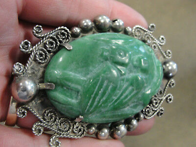 Rare Antique Sterling Silver & Real Jade Pin Brooch MEXICO Carved Birds 42.2g