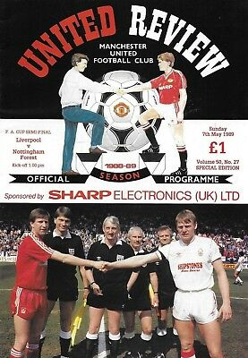 1989 FA CUP SEMI-FINAL PROGRAMME>LIVERPOOL v NOTTINGHAM FOREST @ Old Trafford