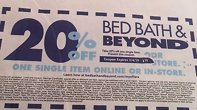 Bed Bath & Beyond 20% off One Item Coupons ONLINE & IN-STORE Exp 1/7 2/4 & 4/1