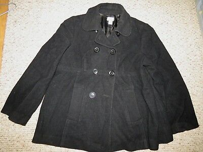 Motherhood Black Wool Blend Black Maternity Winter Coat Pea Coat Large