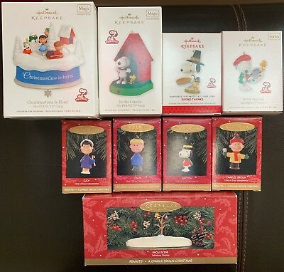 Hallmark Magic Ornaments Peanuts Gang Charlie Brown Snoopy Christmas 9 Pieces