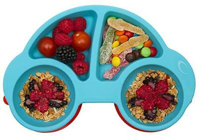 Silicone Divided Toddler Plates - Portable Non Slip Suction Plates Kids BPA Free