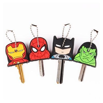 Cute Super Hero Anime Key Cover Cap Silicone Spiderman Batman Hulk Keychain Ring