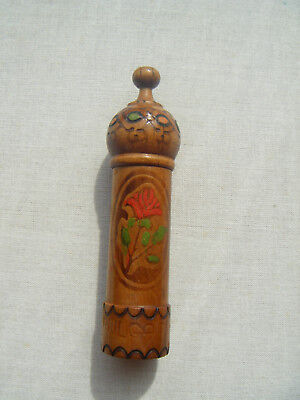 Vintage painted wooden pin holder 'Bulgaria' Treen