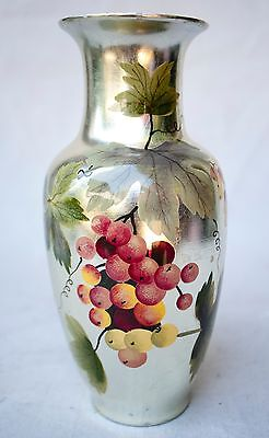 """Chinese Porcelain Hand Painted Silver Grape And Vine Vase 10"""" Tall"""