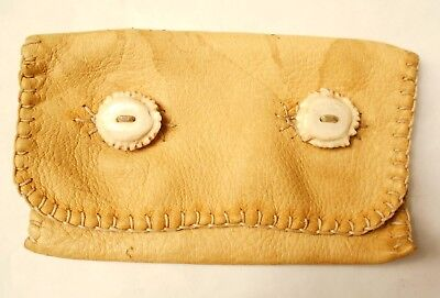 ANTIQUE INUIT HANDSEWN ELKSKIN POUCH with ANTLER BUTTONS. MUSEUM QUALITY PIECE.