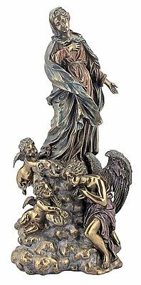 """Madonna With Angels Statue Catholic Virgin Mary 13"""" tall Veronese Collection"""