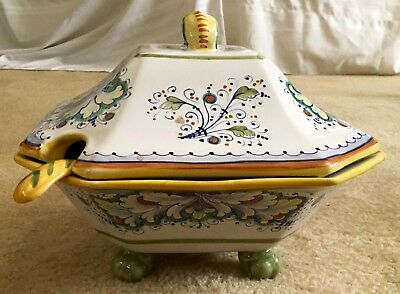 Deruta Hand Made Unusual Octagonal Covered Soup Tureen And Ladle