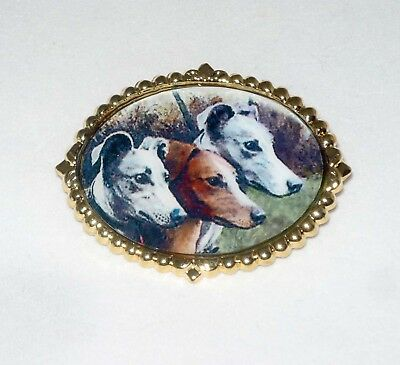 Altered Vintage Art Brooch Pin Three Greyhounds Gold Plated Setting