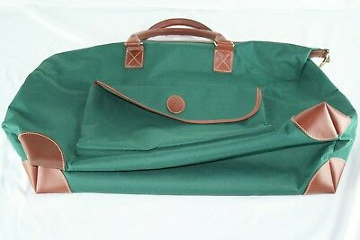 fc4daede63 Vintage Polo Ralph Lauren Green Canvas Leather Overnight Weekender XL  Duffle Bag