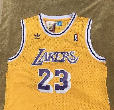 Throwback Lebron James Lakers Jersey Los Angeles Adult Mens NWT #23 Stitched