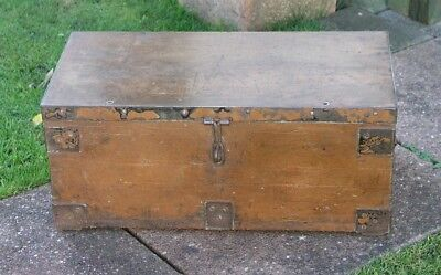 Vintage Wooden Trunk Wooden Chest Wooden Box Heavy Campaign Style Metal Fitting
