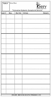 Guest Checks, Server Order Pads, 25 Pads/Pack, No Staples, Made in USA, D... New