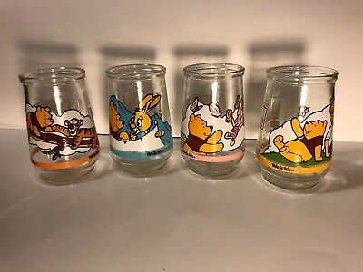 Vintage 4 Winnie The Pooh Welch's Jelly Glass 1997 Grand Adventure Search Disney