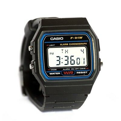New Casio F91W Classic Digital RETRO Sports Alarm Stopwatch Black Watch