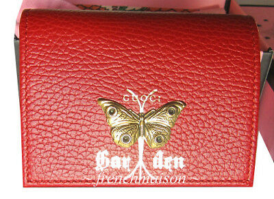83fbbd899c5766 AUTHENTIC GUCCI Garden Gold Red Moth WALLET Florence Italy Gift + Bag + Box  $559