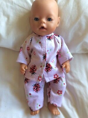 "DOLLS CLOTHES - Pyjamas to fit 17"" Baby Born doll ~ Pink Ladybugs"