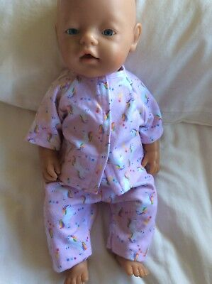 "DOLLS CLOTHES - Pyjamas to fit 17"" Baby Born doll ~ Pink Unicorns"