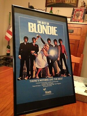 "Big 11X17 Framed Original ""the Best Of Blondie"" Lp Album Cd Promo Ad"