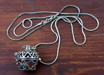 Beautiful Old 925 Sterling Silver Perfume Vinaigrette & Sterling Necklace #2