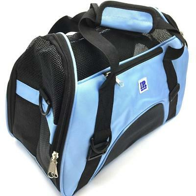 IrisPets Pet Airline Travel Approved Cat Dog Carrier Soft Sided Folding Bag Blue