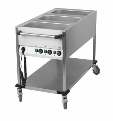 Bain Marie Wagon, 3x Sink for 1/1 Gn, 650x1300x900 mm Food Warmer Water Bath