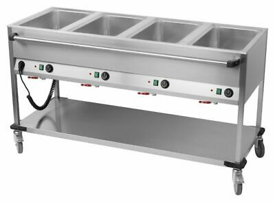 Bain Marie Wagon, 4x Sink for 1/1 Gn, 1650x700x900 mm, Food Warmer Water Bath