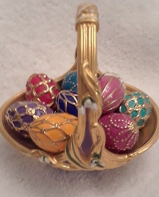 1990 FABERGE SPRING EGG BASKET 9 EGGS PORCELAIN Hallmarked