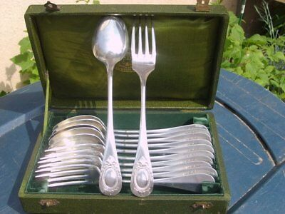 Antique French Christofle Silver Plated Flatware Set Louis XVI serving 6
