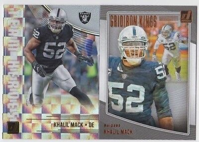 57a27308b5a (2) Khalil Mack 2018 DONRUSS TEAM HEROES + GRIDIRON KINGS INSERT LOT BEARS