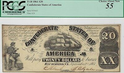 T-18 PF-25 $20 Confederate Paper Money 1861 - PCGS Choice About New 55!