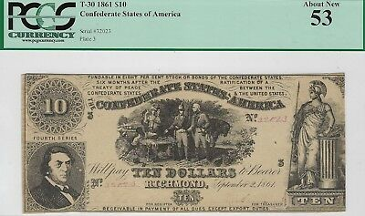 T-30 PF-6 $10 1861 Confederate Paper Money - PMG About New 53!