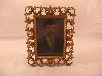 OLD VICTORIAN CAST IRON PICTURE FRAME with OLD PHOTO
