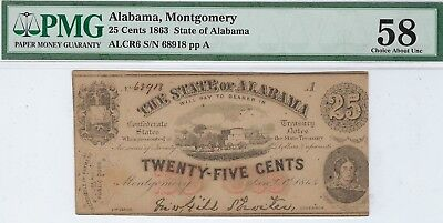 AL-3 CR-6 $0.25 Alabama Paper Money 1863 - PMG Choice About Uncirculated 58!