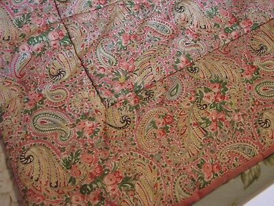 Vintage 1950s single quilt pink roses & paisley embroidered satin reverse