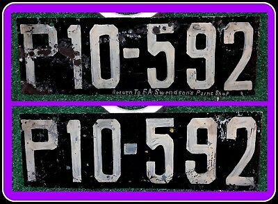 DENMARK - 1921-30 series license plate set from Hjørring w legend, repl. or Hire