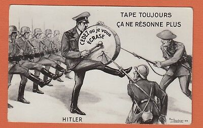 WW11 Propaganda Postcard Hitler Attacked By Allied Soldiers