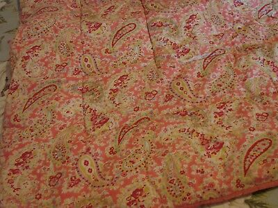 Vintage 1950s double quilt pink roses & paisley reverse has large red roses